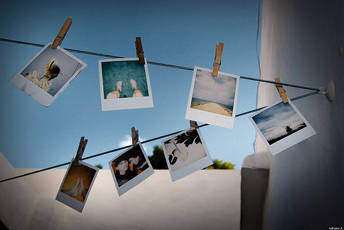 Clothesline of photos