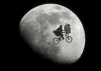 e.t. in front of the moon