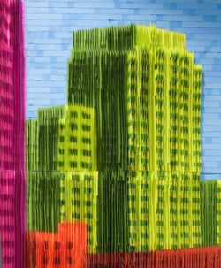 post-it art building